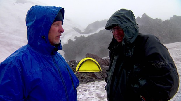 Videographer Todd Sonflieth and Producer Ed Jahn discuss their options on the now treacherous Mt St Helens.
