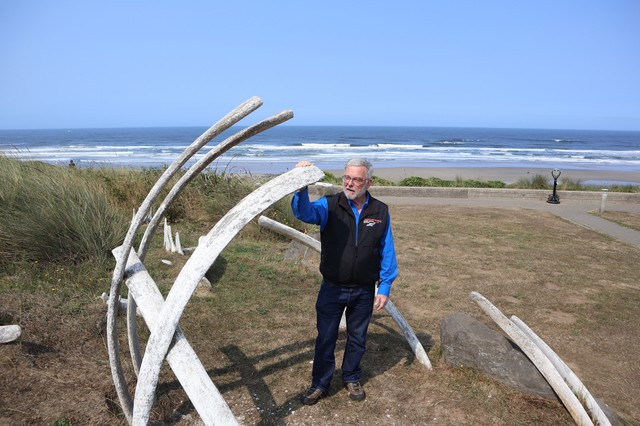 OSU Marine Mammal Institute Director Bruce Mate posed Thursday beside a sculptural installation mimicking whale bones in Newport's Don Davis Park.
