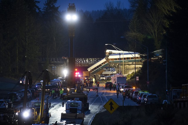 The Amtrak Cascades train derailed at 78 mph at a highway overpass near DuPont, Washington on December 18, 2017.
