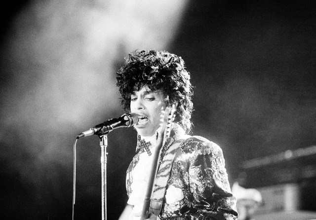 Prince performs at the Orange Bowl during his Purple Rain tour in Miami, Fla., April 7, 1985.