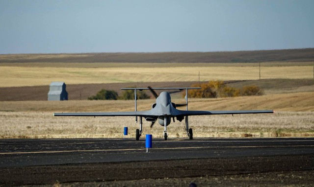 The latest variant of the Cubic Ares unmanned reconnaissance drone during flight testing at Pendleton on October 28.