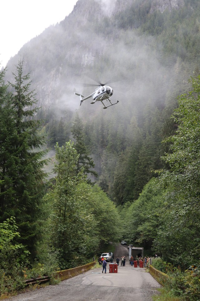 A chartered helicopter carried mountain goats captured the day before in Olympic National Park to their new home on the slopes of Stillaguamish Peak.