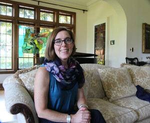 Oregon Gov. Kate Brown in the living room of Mahonia Hall, the governor's official residence in Salem.