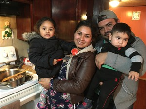 Luis Solorio, 28, his wife Viviana Torre, 29, and their children Kendra Solorio, 3, Iker Solorio, 11 months, and Jorge Torres, 9, moved into this house just days ago. They're not sure they can afford it, but there are few places to go in Yakima County.