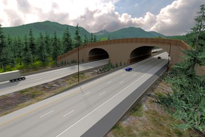 Artist rendering of completed I-90 wildlife bridge.