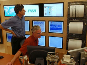 The joke around the PNSN office is that recently departed director John Vidale (left) did a good job suppressing earthquakes for the past decade.