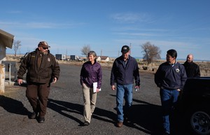 John Megan with Malheur refuge law enforcement gives U.S. Secretary of the Interior Sally Jewell, Refuge Manager Chad Karges and Deputy Secretary Mike Connor a tour of the Malheur National Wildlife Refuge on March 21, 2016.