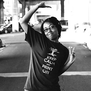dfrntpigeon designer Dani poses in one of the apparel company's T-shirts.