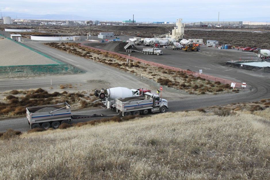 Grouting material to fill the Hanford tunnels was made on site at what is called the mobile batch plant.