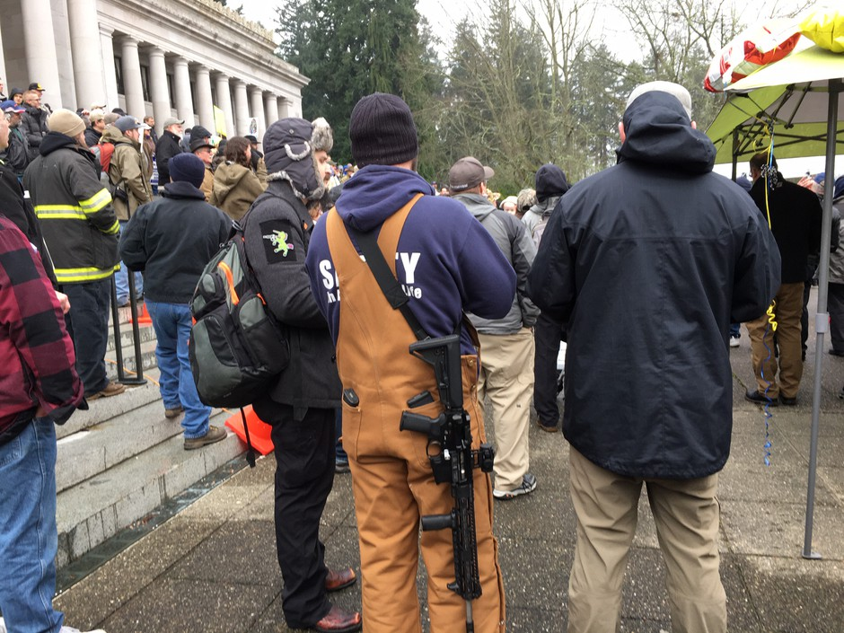 Under current Washington law, visitors to the Capitol can openly-carry firearms. A bill introduced in the Legislature would ban weapons from the statehouse and Capitol grounds.