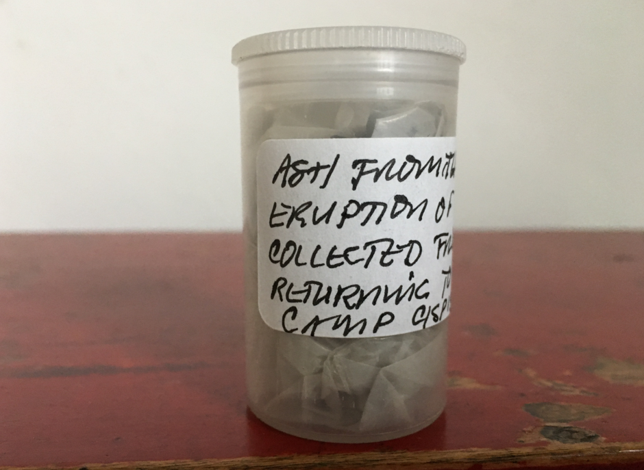 After returning to Seattle from Camp Cispus on the evening of May 18, 1980, Puget Sound Primary School families collected ash from the vehicles to save as a keepsake of the adventure.