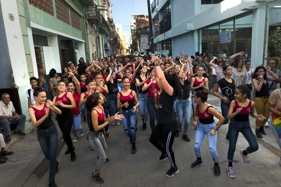 Members of the ballet and dance company Lizt Alfonso Dance Cuba perform on the streets of Old Havana.