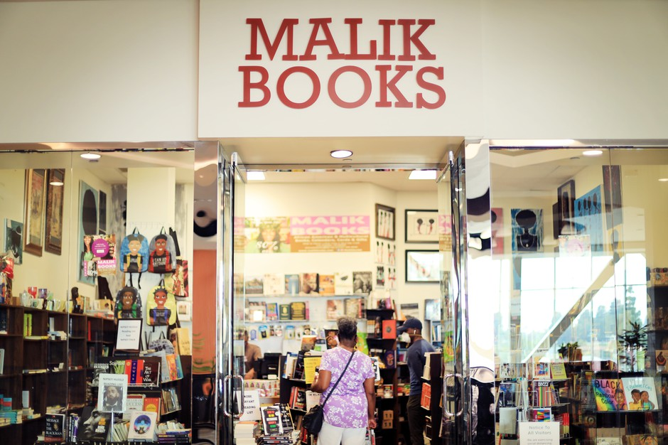 Malik Books is located in the Baldwin Hills Crenshaw Plaza, a historically Black mall in Los Angeles.