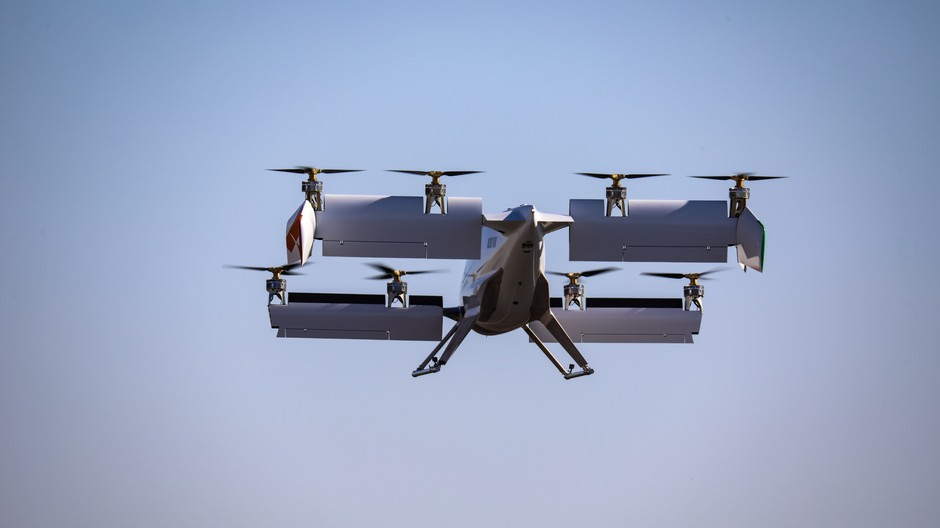 An Airbus subsidiary is testing this prototype of a self-flying air taxi at the Eastern Oregon Regional Airport.