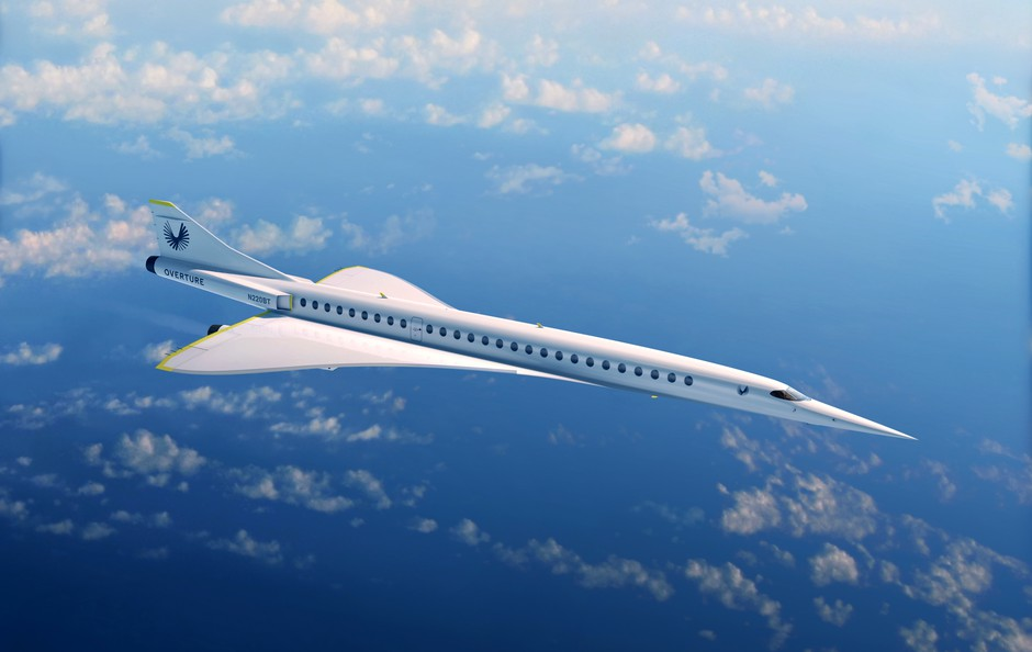Rendering of 55-75 passenger supersonic airliner under development by Boom Supersonic.
