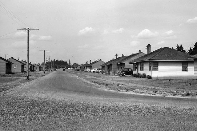 A photo dated from 1945 shows Vancouver, Washington's Fruit Valley neighborhood. The neighborhood has a history with industry along the Columbia River. Many of the homes were built during the early 1940s to house employees who worked at the Kaiser Shipyards during World War II.