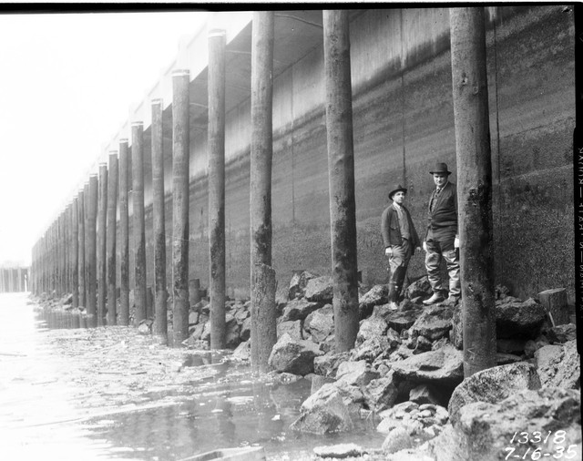 The seawall at Seattle's Railroad Avenue in 1935.
