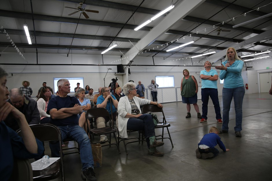 Jennie Oldenkamp, a nurse in Harney County, urgeselected officials not to cut public health and primary care programs as a way to deal with budget cuts during a public hearing on Tuesday, May 7, 2019.