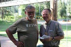 Kim Stafford, right, chosen as Oregon's next poet laureate, with the Josephy Center's Rich Wandschneider (left).