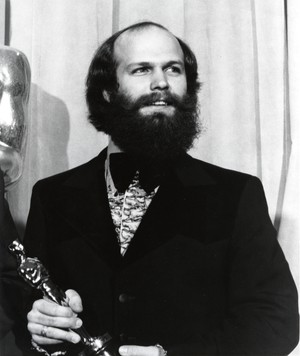 "Will Vinton holding his Oscar for ""Closed Mondays."""