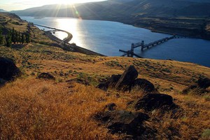A view of the Columbia River Gorge.
