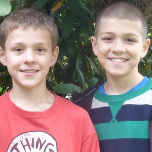 "Jeremy Clark (left) and Charlie Abrams (right) are the Portland 5th graders behind the ""Two Green Leaves"" blog."