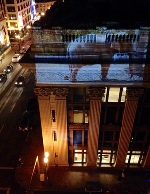 Colleen Plumb's elephant video screening on the US Bank building downtown Portland