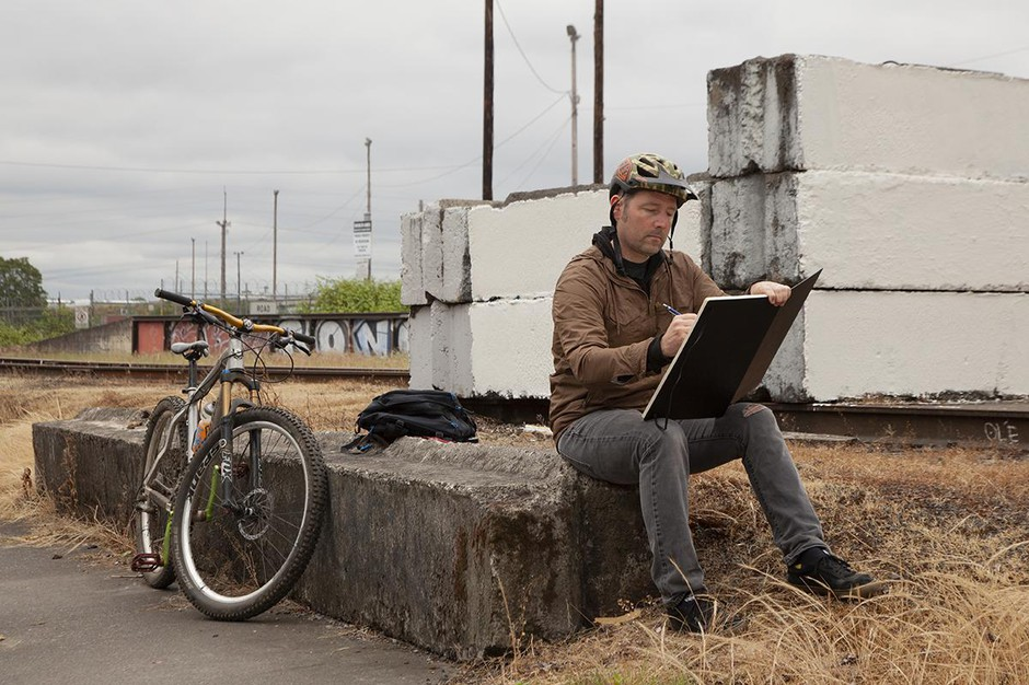 Artist Roll Hardy can usually be seen biking around Portland with a sketchbook, ready for any time inspiration comes.