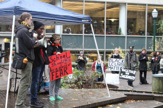 The Portland State University holds a rally in support of Lewis andClark College after a reported attack on a black student at the smallerschool.