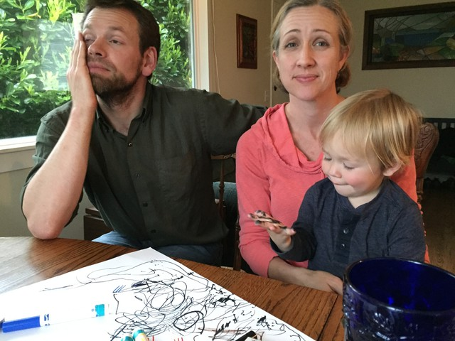 "The Alexanders take a look at OPB's Aftershock tool. ""We could be looking at a house that's uninhabitable,"" said Patrick Alexander."