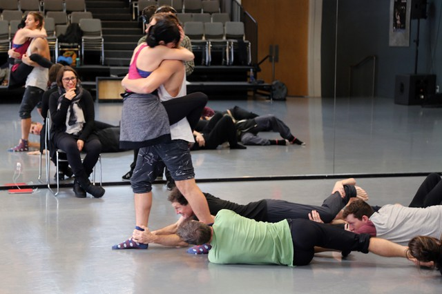 """Pink Martini chanteuse China Forbes watches on as the BodyVox dancers work out her choreography set to David Bowie's """"Changes."""""""