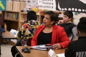 Attorney General of the United States Loretta Lynch visits George Middle School in North Portland, March 3, 2016. Lynch was in Portland to highlight community policing partnerships here — one of six cities that her office has chosen as public safety role models.