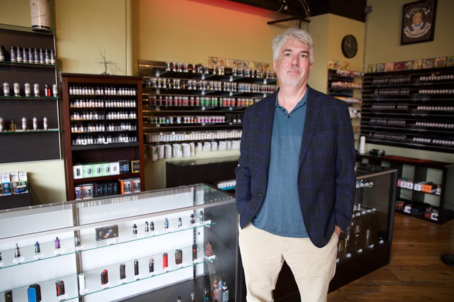 """Paul Bates owns Division Vape in southeast Portland,""""The CDC has said to people not to vape. But that doesn't take into account that ...this is a black market THC problem. And attempting to bootstrap into a negative opinion of e-cigarettes, seems a bit dishonest to me,"""" he said."""
