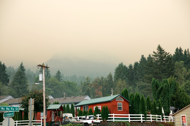 A smoky haze hangs over Cascade Locks on Monday, Sept. 4, 2017, as the nearby Eagle Creek Fire has forced hundreds of people to evacuate their homes and businesses.
