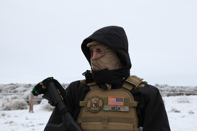 An armed man with a group called the Pacific Patriots Network. The network arrived in Harney County in early 2016, claiming to secure the scene of the occupation at the Malheur National Wildlife Refuge.