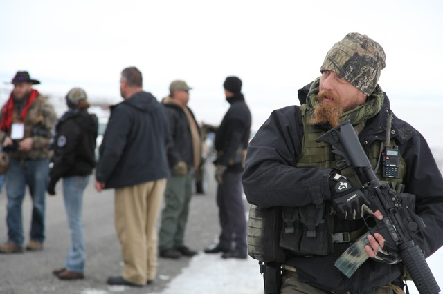 A member of the Pacific Patriots Network at the Malheur National Wildlife Refuge in January, 2016.