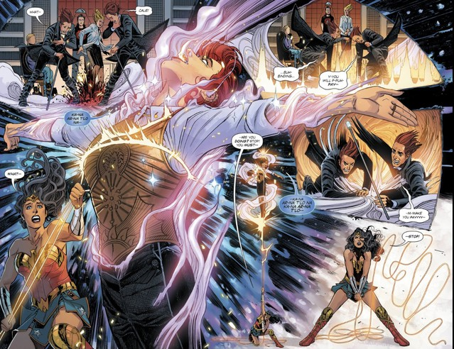"""A catalytic moment in """"Wonder Woman: Rebirth #20,"""" written by Greg Rucka; art by Bilquis Evely; colored by Romulo Fajardo Jr."""