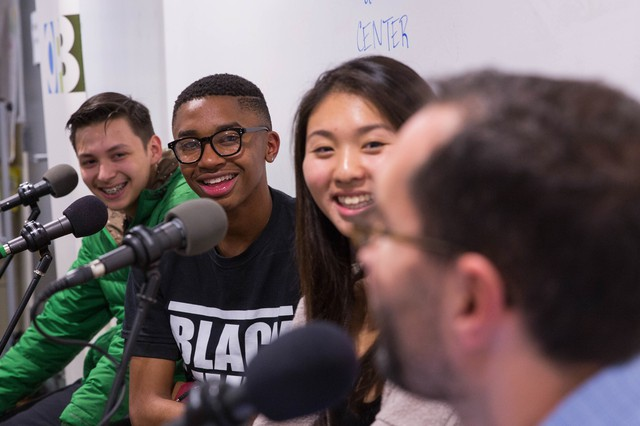 "From left, Angel Rodriguez, Tyler White and Grace Wong with ""Think Out Loud"" host Dave Miller at a youth town hall on the American Dream at The CENTER in North Portland on Tuesday, Oct. 25, 2016."