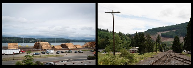 Coos Bay, Oregon (left) and Drain, Oregon (right). Rural Oregon counties have taken enormous financial hits as demand for timber has declined in the wake of the housing crisis. Cash strapped sheriffs say they don't have the resources to enforce new gun laws.