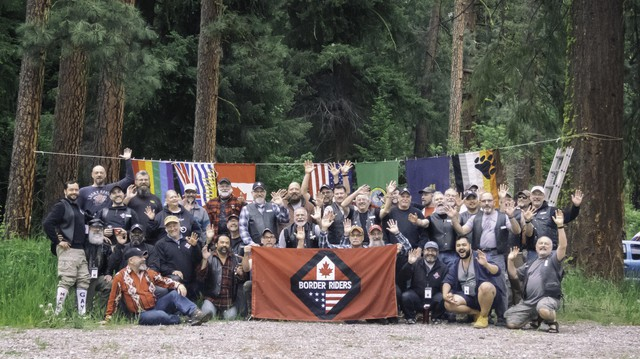 The Border Riders Motorcycle Club poses for a portrait during their 2018 Victoria Day Run.