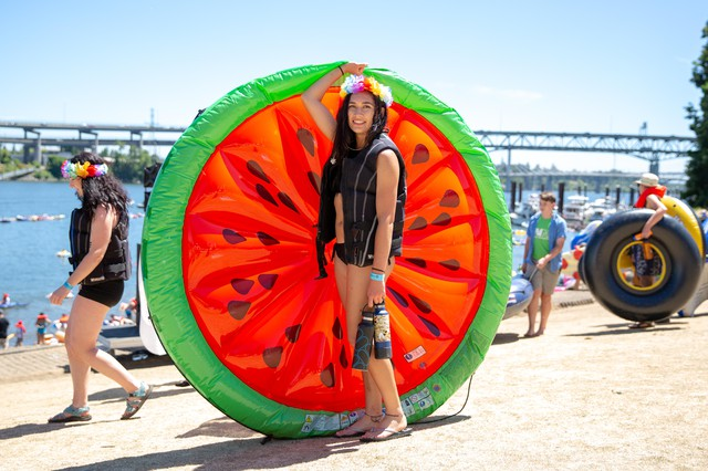 McKenzie Webster from Eugene, Ore. and her watermelon raft.