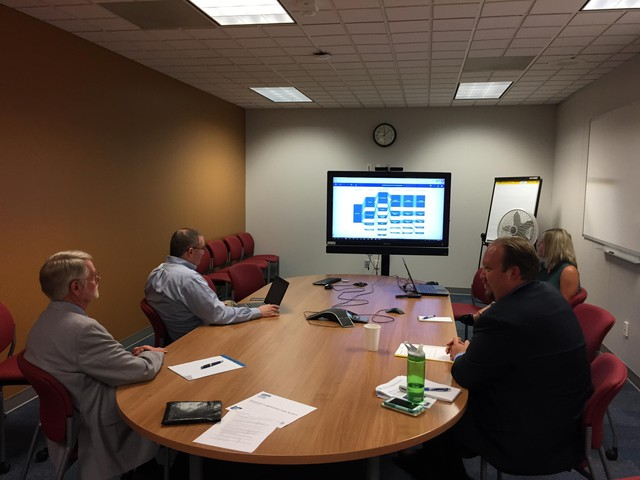 "Oregon education officials look at a ""beta"" version of the Statewide Longitudinal Data System in August 2018."