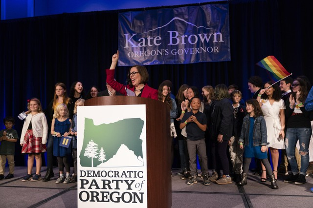 Kate Brown at the Democratic Party of Oregon 2018 election party on Nov. 6, 2018 in Portland, Oregon.
