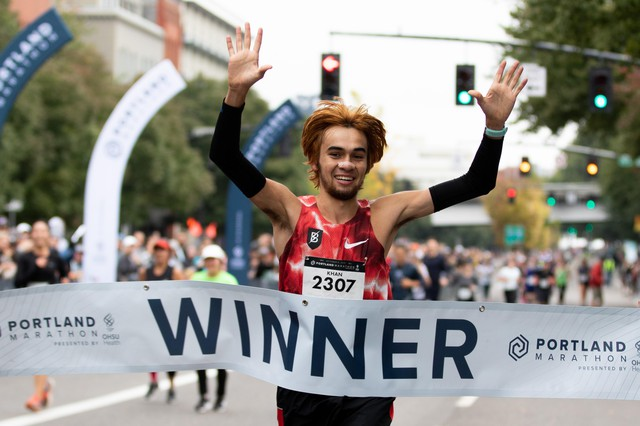 Kallin Khan of the Bowerman Track Club wins the men's Portland Marathon with a time of 2:25:15.83 on October 6, 2019.