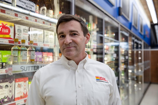 Plaid Pantry president and CEO Jonathan Polonsky at a southwest Portland, Ore., store on Nov. 15, 2019. Polonsky said shelf space for hard cider has been compressed to make way for more hard seltzer.
