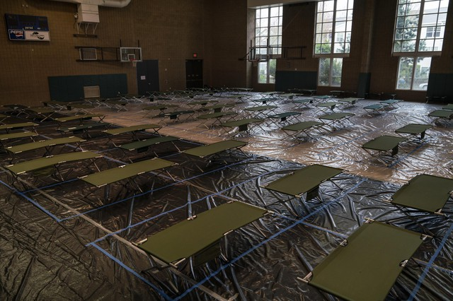 The East Portland Community Center gym is set up with 75 evenly spaced cots in order to accommodate residents in the Multnomah County shelter system on March 27, 2020 in Portland, Oregon.