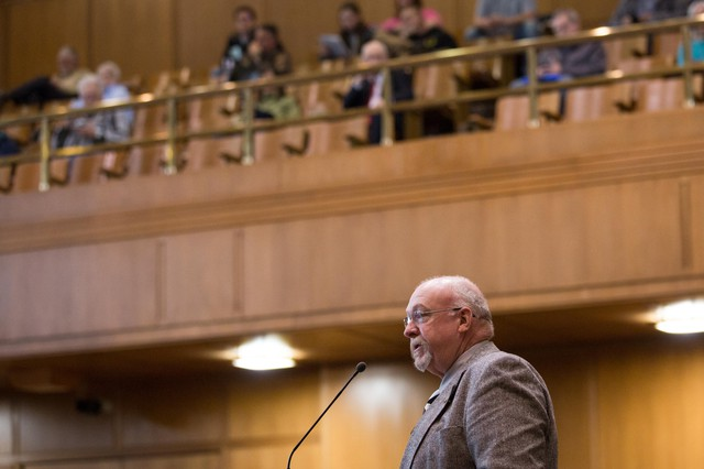 State Rep. Lynn Findley, R-Vale, introduces legislation on the House floor as the public gallery looks on at the Capitol in Salem, Ore., Tuesday, April 2, 2019.