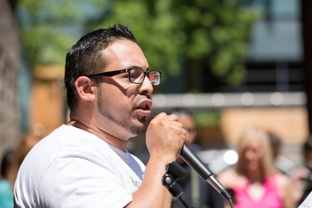 Oregon state Rep. Diego Hernandez speaks at a rally in Portland, Sunday, June 24, 2018.