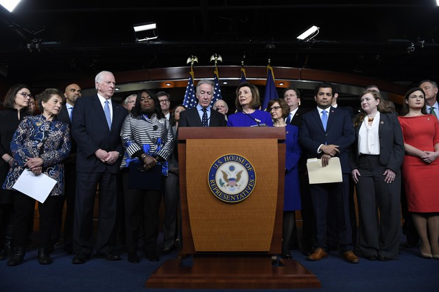 House Speaker Nancy Pelosi of Calif., accompanied by House Ways and Means Committee Chairman Richard Neal, D-Mass., speaks at a news conference on Capitol Hill in Washington, Tuesday, Dec. 10, 2019, on Capitol Hill in Washington.