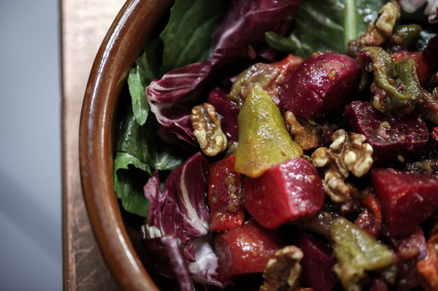 A dressing made with preserved lemons imparts extra dimension to Park Kitchen's Beets And Chilies Salad With WalnutPesto.